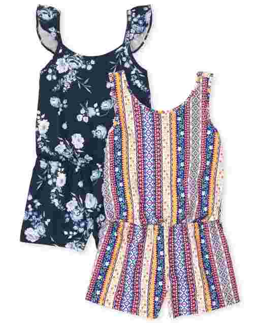 Girls Sleeveless Floral And Striped Knit Romper 2-Pack
