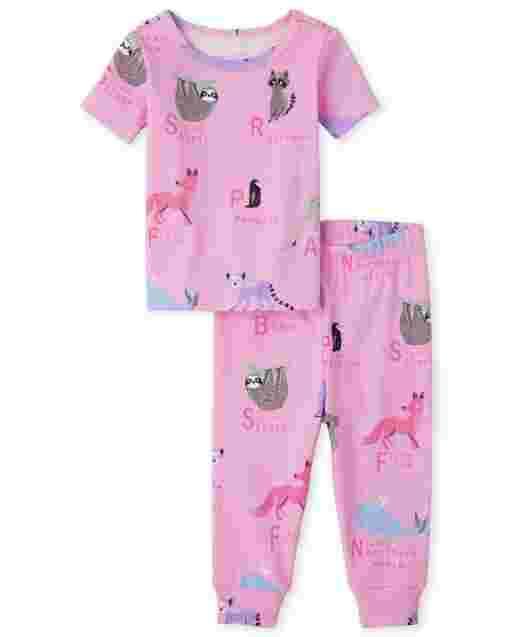 Pijama de algodón con ajuste ceñido Animal ABC de manga corta para bebés y niñas pequeñas