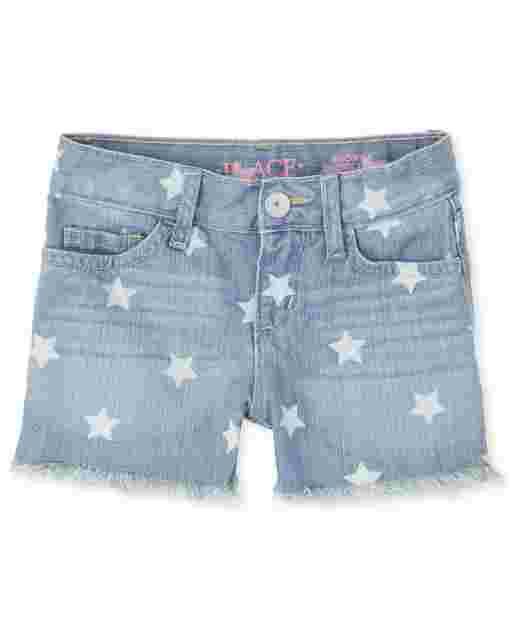 Pantalón corto niña denim con estampado de estrellas americana