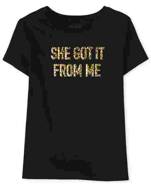 Womens Mommy And Me Short Sleeve 'She Got It From Me' Graphic Tee