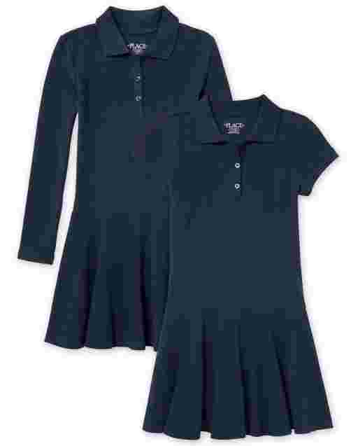 Girls Uniform Short And Long Sleeve Pique Polo Dress 2-Pack