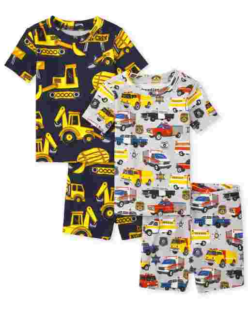 Baby And Toddler Boys Short Sleeve Transportation Snug Fit Cotton Pajamas 2-Pack