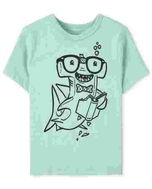 Camiseta con estampado de tiburón de lectura de manga corta para bebés y niños pequeños