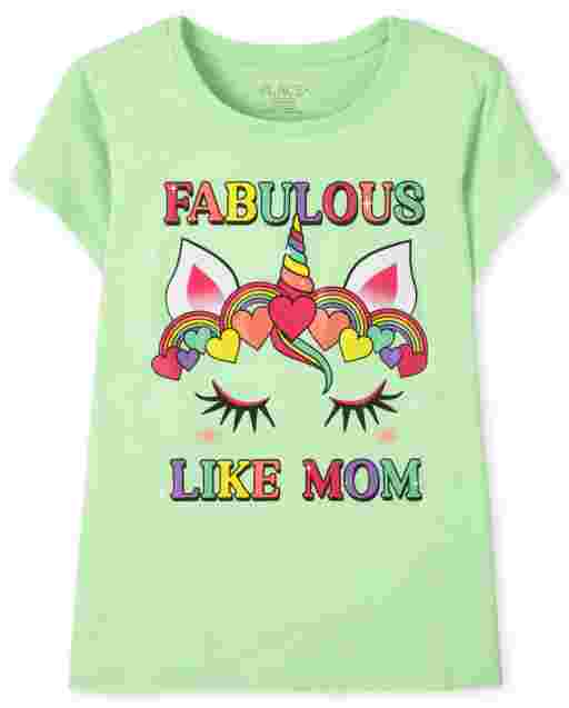 Girls Short Sleeve Fabulous Like Mom Unicorn Graphic Tee