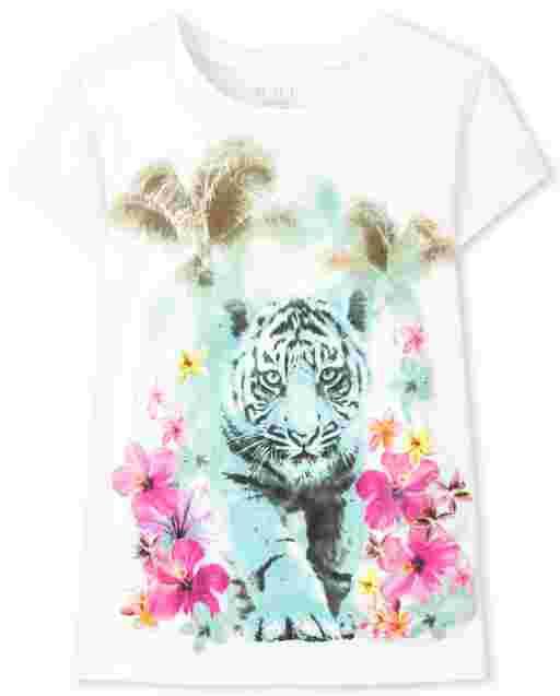 Girls Short Sleeve Tiger Graphic Tee
