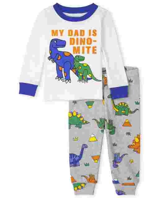 Baby And Toddler Boys Long Sleeve Dino Dad Snug Fit Cotton Pajamas
