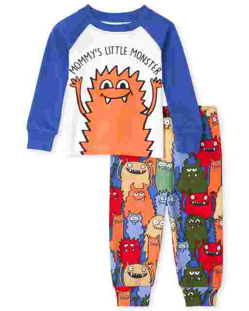 Baby And Toddler Boys Long Sleeve 'Mom's Little Monster' Snug Fit Cotton Pajamas