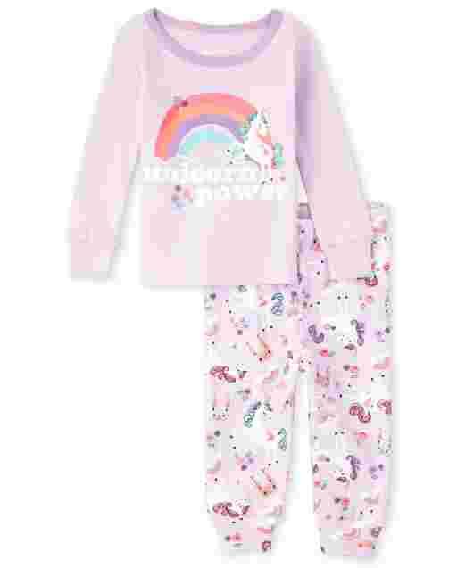 Baby And Toddler Girls Long Sleeve Unicorn Power Snug Fit Cotton Pajamas
