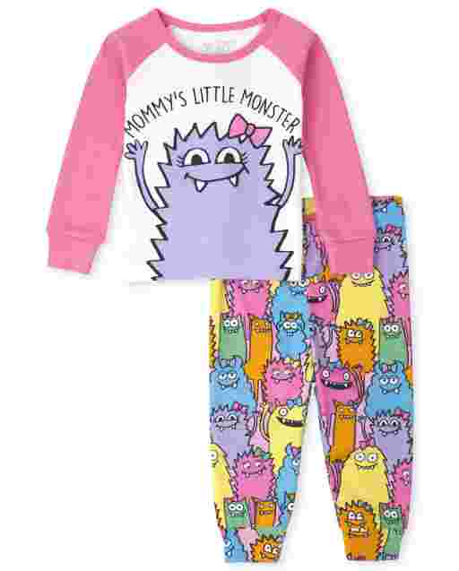 Baby And Toddler Girls Long Sleeve 'Mommy's Little Monster' Snug Fit Cotton Pajamas