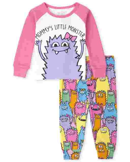Pijamas de algodón de manga larga para bebés y niñas ' Mommy ' s Little Monster '