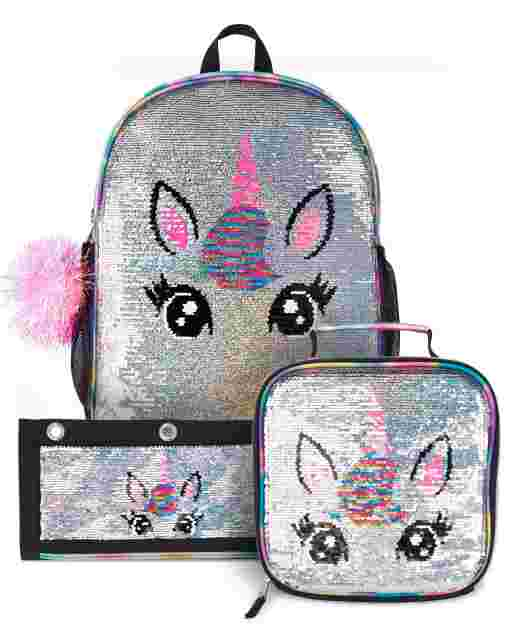 Girls Flip Sequin Unicorn Backpack Lunch Box And Pencil Case 3-Piece Set