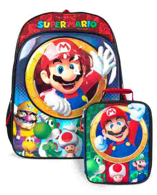 Boys Light Up Mario Backpack And Lunch Box 2-Piece Set