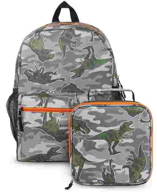 Boys Camo Dino Backpack And Lunch Box 2-Piece Set