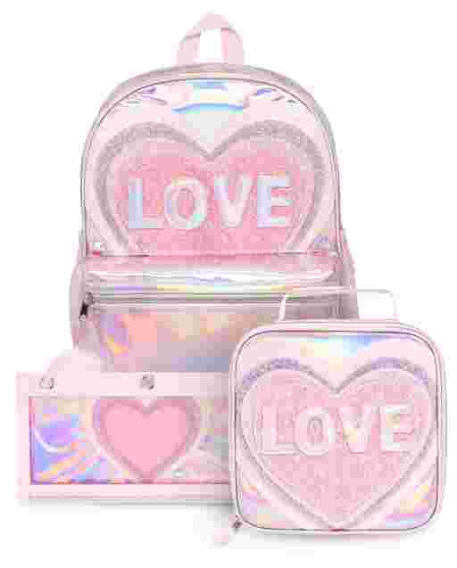 Girls Glitter Love Backpack Lunch Box And Pencil Case 3-Piece Set