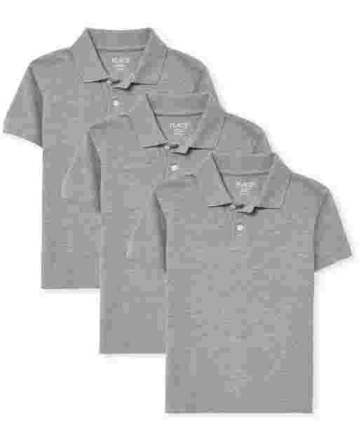 Boys Uniform Short Sleeve Pique Polo 3-Pack