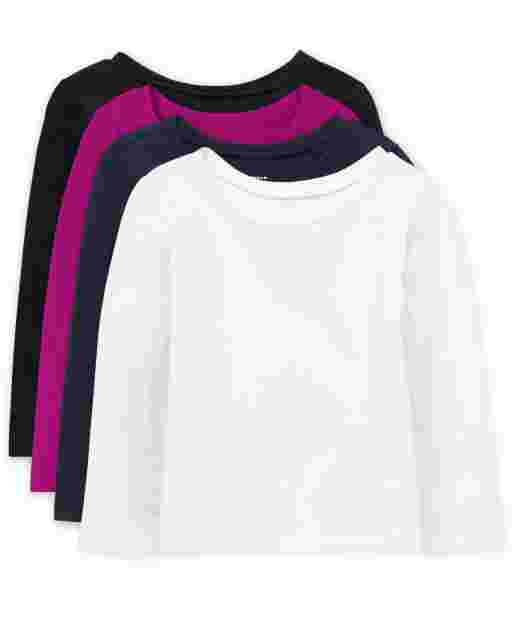 Baby And Toddler Girls Long Sleeve Basic Layering Tee 4-Pack