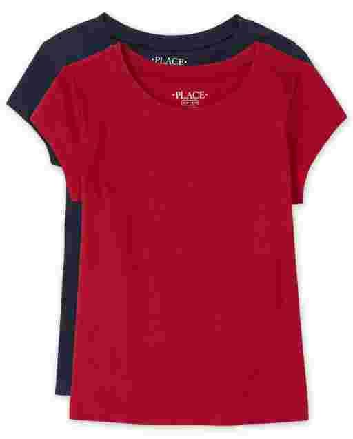 Girls Short Sleeve Basic Layering Tee 2-Pack