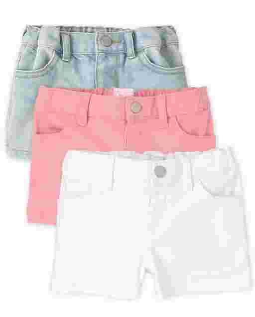 Baby And Toddler Girls Denim Shortie 3-Pack