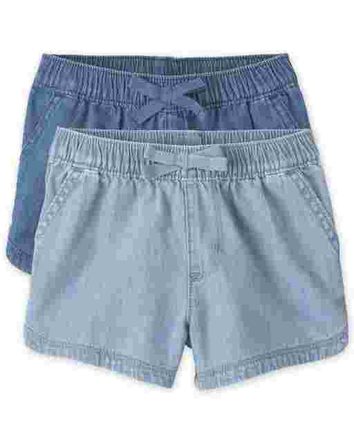 Baby And Toddler Girls Denim Pull On Shorts 2-Pack