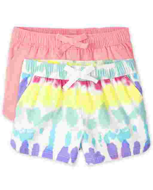 Baby And Toddler Girls Twill Pull On Shorts 2-Pack