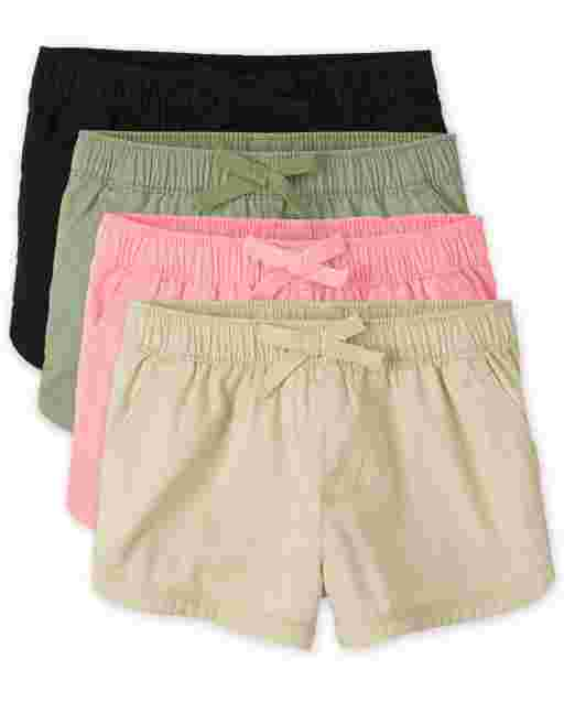 Baby And Toddler Girls Twill Pull On Shorts 4-Pack