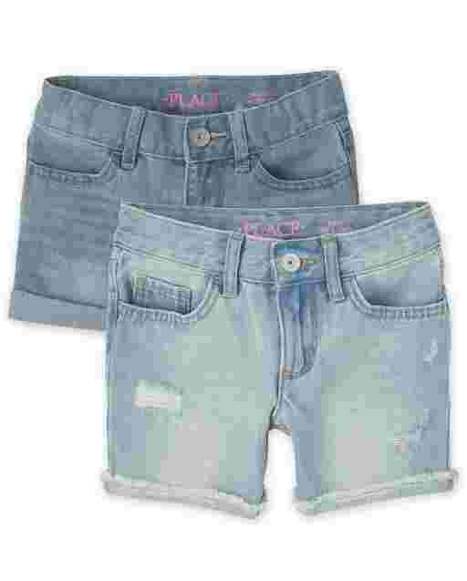 Girls Roll Cuff Shortie And Distressed Denim Midi Shorts 2-Pack