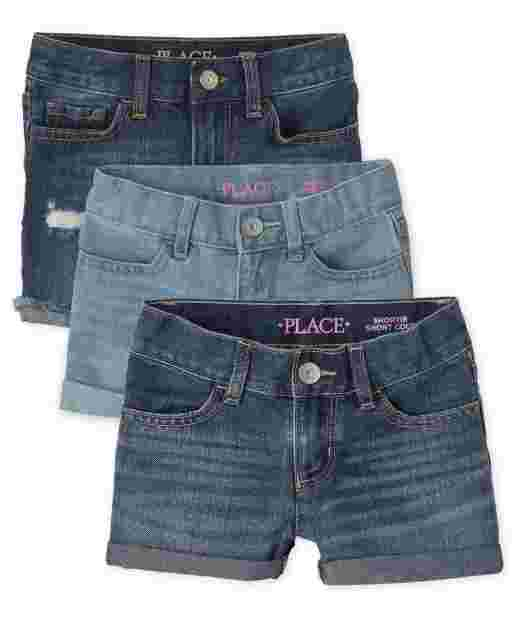 Girls Roll Cuff Shortie And Distressed Denim Midi Shorts 3-Pack