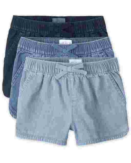 Girls Denim Pull On Shorts 3-Pack