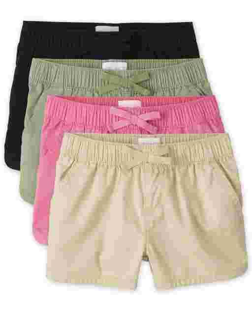 Pack de 4 pantalones cortos de sarga sin tirantes para niñas