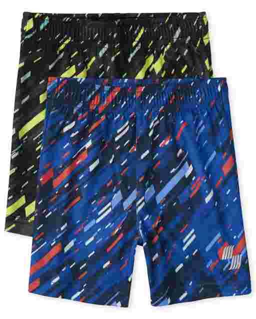 Pack de 2 pantalones cortos de baloncesto de alto rendimiento con estampado para bebés y niños pequeños