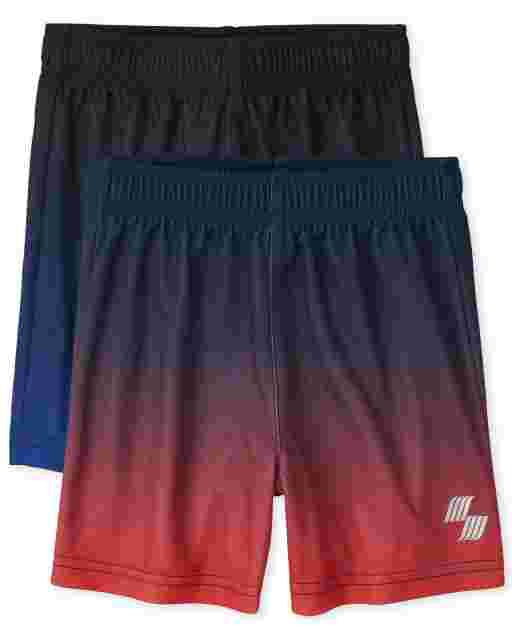 Baby And Toddler Boys PLACE Sport Ombre Knit Performance Basketball Shorts 2-Pack