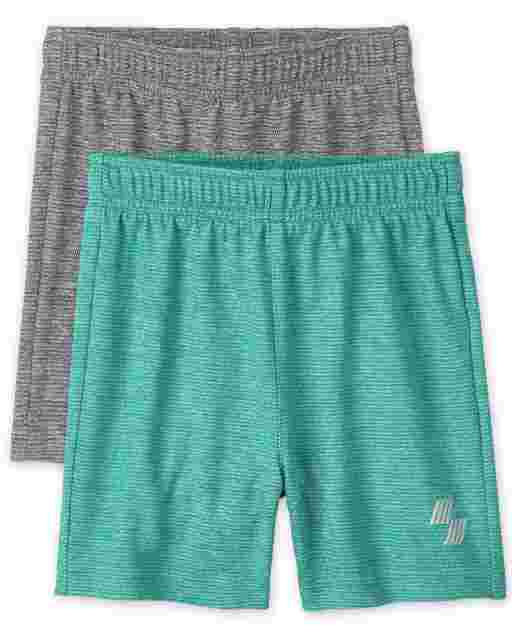 Baby And Toddler Boys PLACE Sport Marled Knit Performance Basketball Shorts 2-Pack
