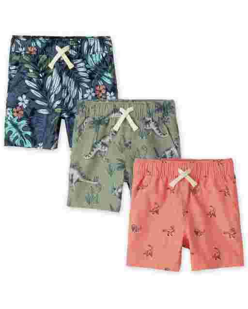 Paquete de 3 pantalones cortos tipo jogging con estampado para bebés y niños pequeños