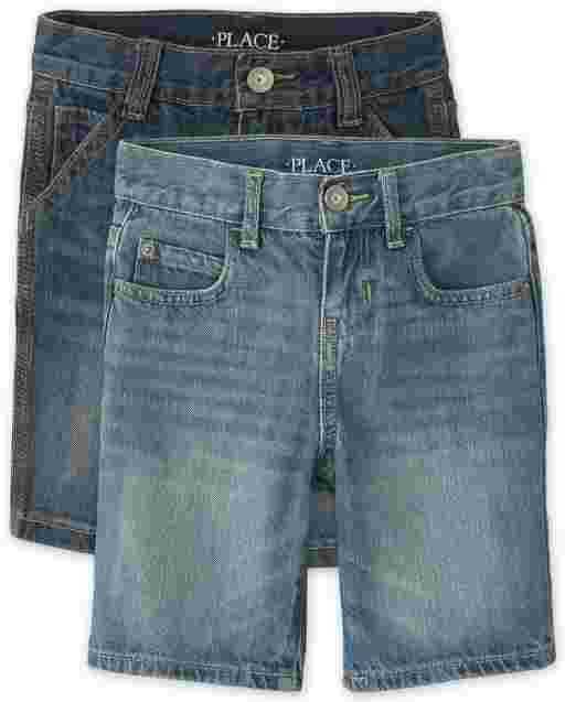 Boys Five-Pocket And Utility Denim Shorts 2-Pack