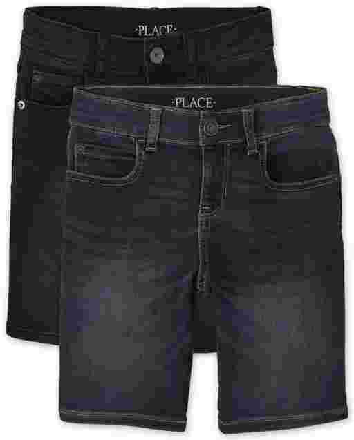 Boys Five-Pocket And Super-Soft Stretch Denim Shorts 2-Pack