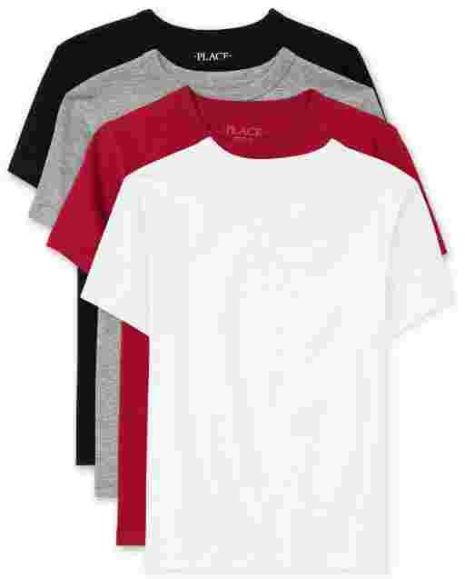 Boys Short Sleeve Basic Layering Tee 4-Pack
