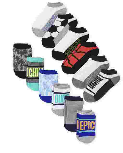 Boys Print Ankle Socks 12-Pack