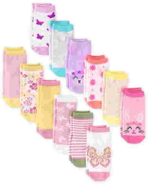 Toddler Girls Print Ankle Socks 12-Pack