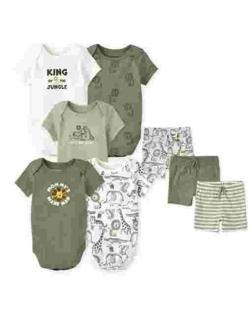 Baby Boys Safari Bodysuit And Shorts 8-Piece Mix And Match Set