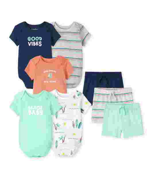 Baby Boys Short Sleeve Surf Bodysuit And Shorts 8-Piece Set