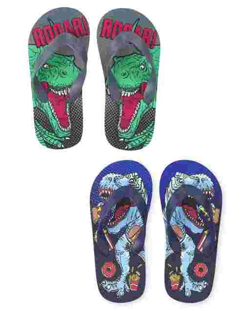 Boys Dino Flip Flops 2-Pack