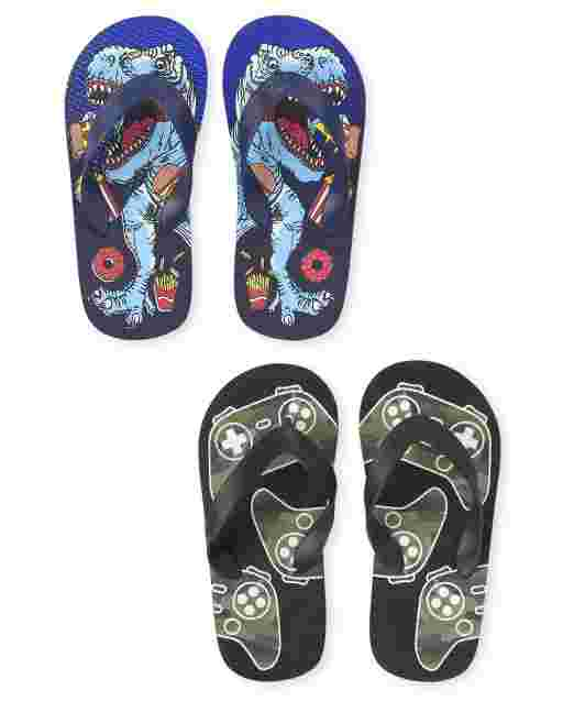 Boys Graphic Flip Flops 2-Pack