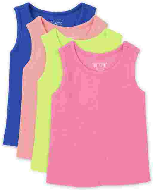 Baby And Toddler Girls Sleeveless Ribbed Tank Top 4-Pack