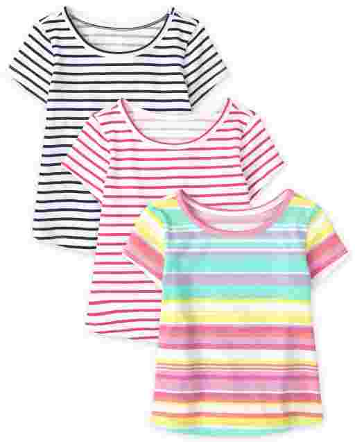 Baby And Toddler Girls Short Sleeve Striped Top 3-Pack