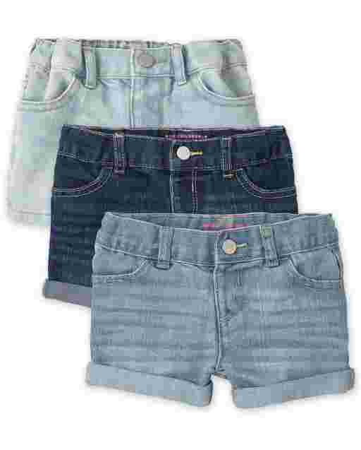 Toddler Girls Denim Shortie Shorts 3-Pack