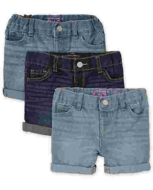 Toddler Girls Denim Midi Shorts 3-Pack