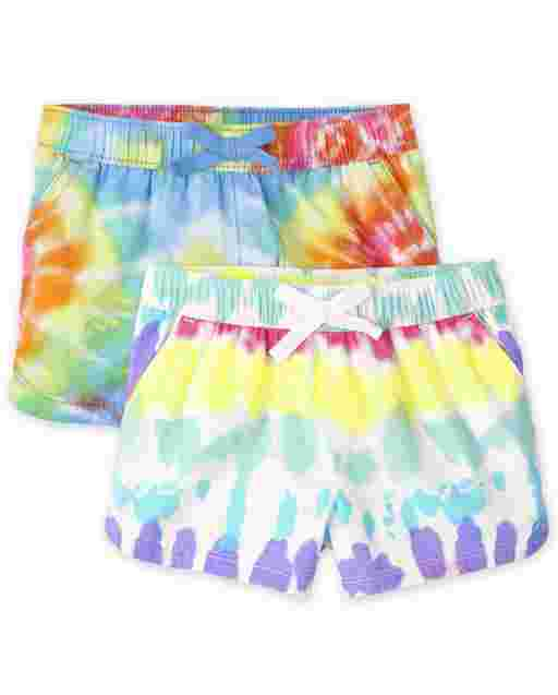 Baby And Toddler Girls Twill Printed Pull On Shorts 2-Pack