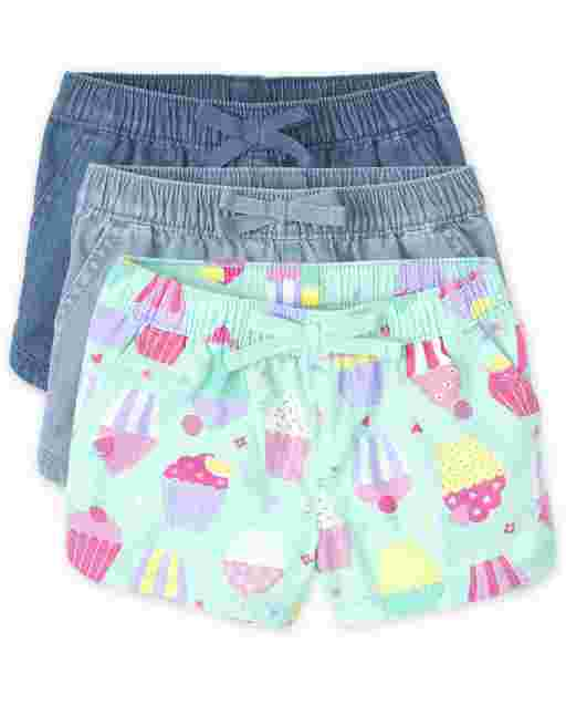 Baby And Toddler Girls Pull On Shorts 3-Pack