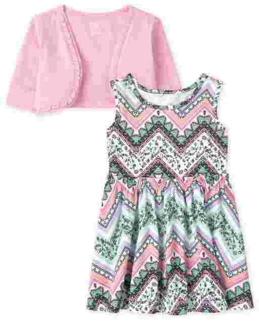 Baby And Toddler Girls Short Sleeve Shrug And Sleeveless Chevron Tank Dress 2-Piece Set