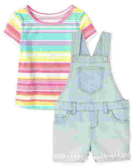 Baby And Toddler Girls Rainbow Short Sleeve Top And Lace Denim Shortalls 2-Piece Set